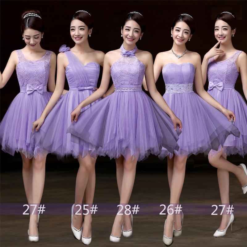 Bridesmaid Dress, Mini Prom Dresses ,Beading Dress ,Evening Dress ,Formal Dress - Purple