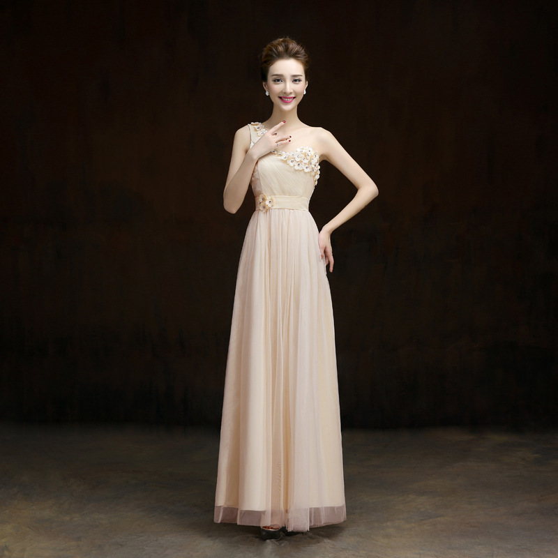 New One Shoulder Formal Long Design Elegant Gown Evening Dress - Beige