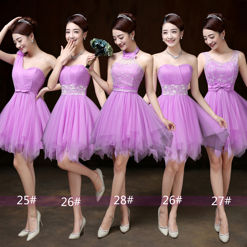 Bridesmaid Dress, Mini Prom Dresses ,Beading Dress ,Evening Dress ,Formal Dress - Light Purple