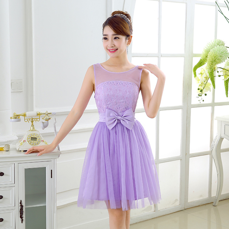 Sweet Bow Mini Bridesmaid Prom Dresses -Purple
