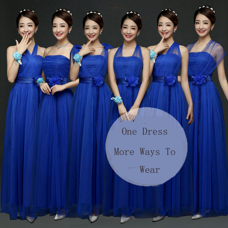 New Convertible Bridesmaid Dresses A Line Long Wedding Party Dress - Blue