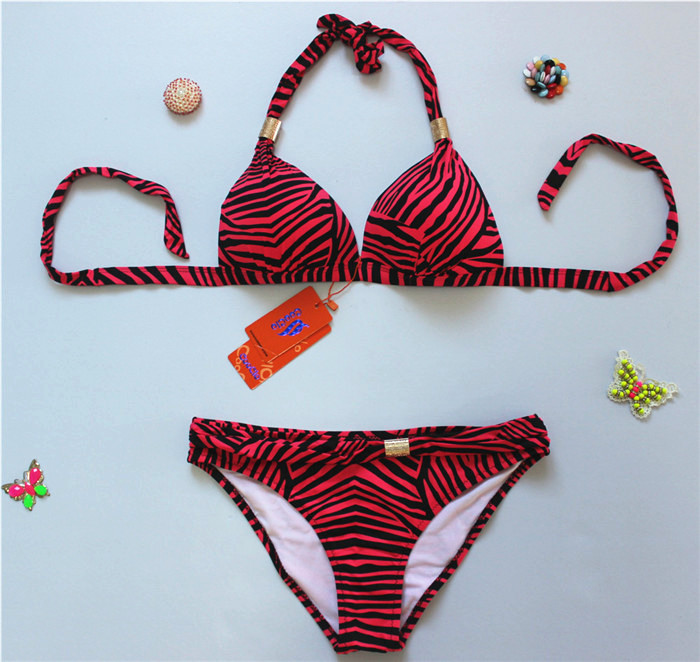 New Zebra Stripes Swimwear Swimsuit Bikini - Red