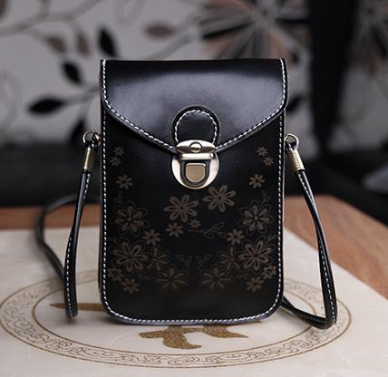 Women Messenger Bags Small Female Shoulder Bags- Black