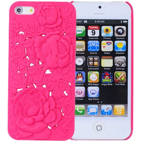 Rubberized Plastic Hard Case Hollow Out Carve Peony Protective Back Case For IPhone 5/5S - ROSE