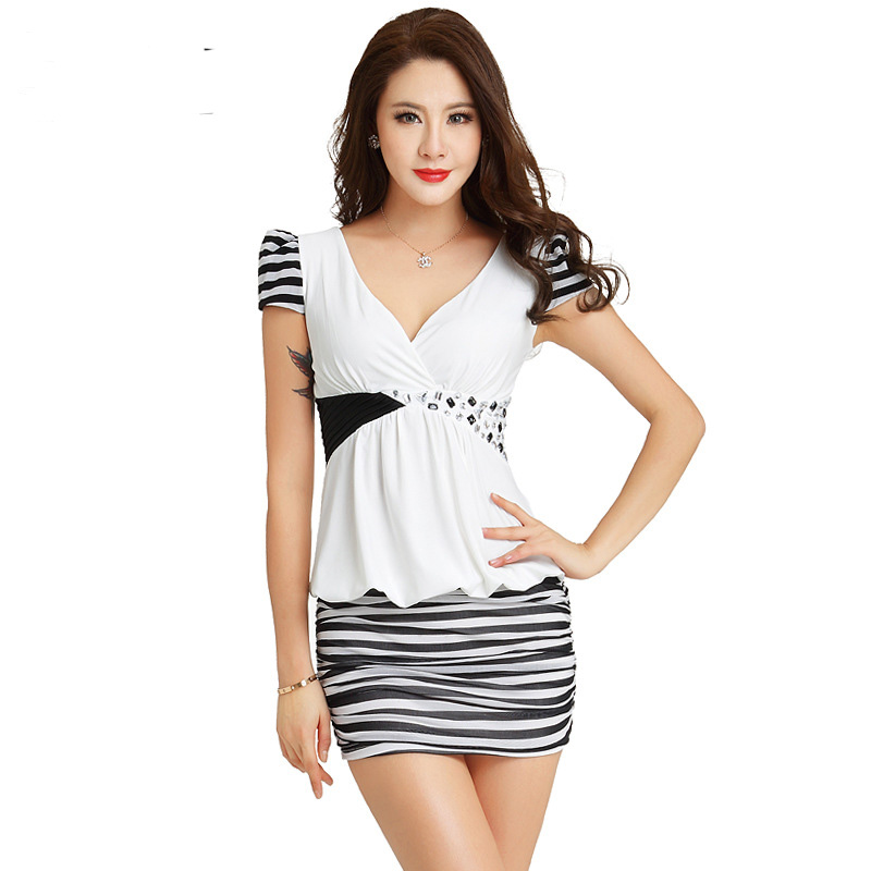 New Deep V Neck Short Sleeve Strip Sexy Party Dress 4 Colors