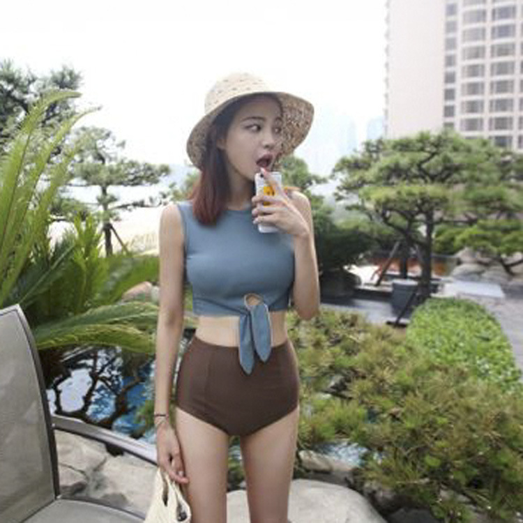 Girl High Waist Thin Strap Swimsuit