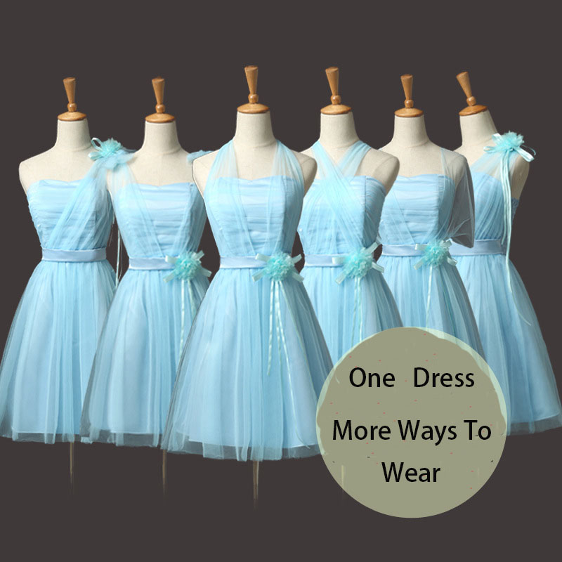 HOT Selling!Convertible Bridesmaid Dresses Mini Cheap Wedding Bridesmaid Dresses Formal Party Dresses - Light Blue