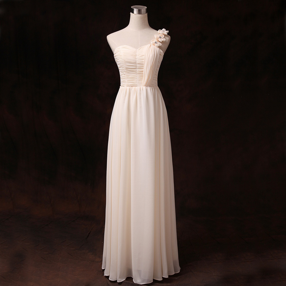 Good New One Shoulder Champagne Color Evening Party Prom Dress Bridesmaid Wedding Long Dress