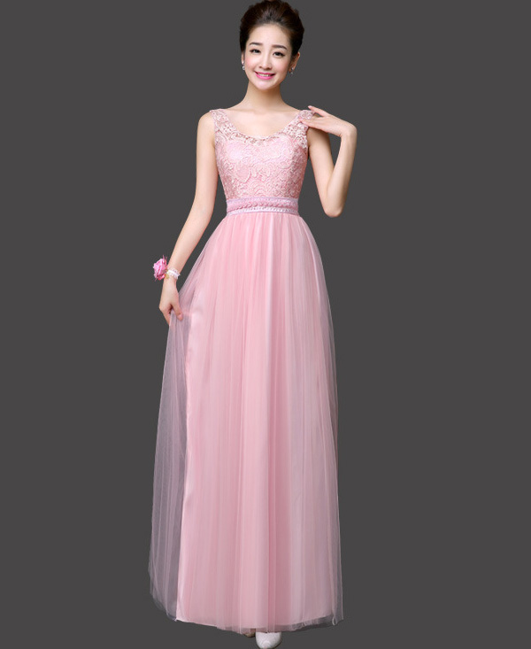 New Arrival Sweet Pink Color Women Ball Gown Party Dresses Long Bridesmaids Dress