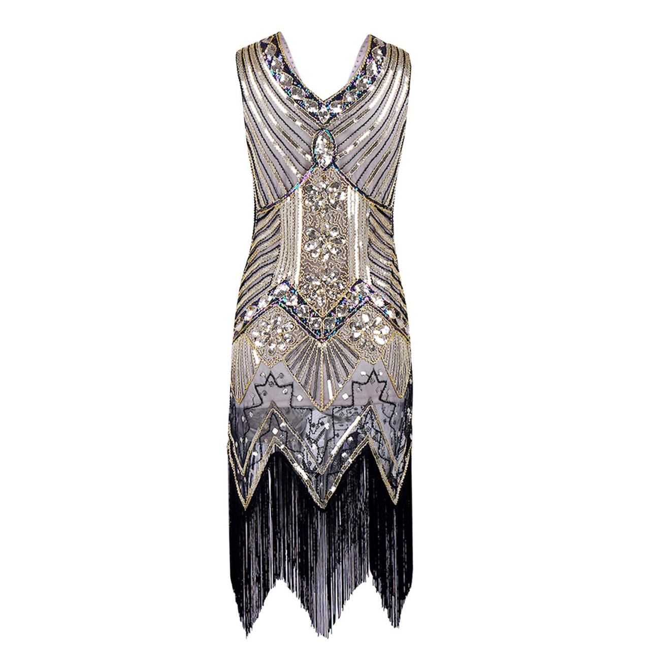 Sleeveless V Neck Sequin Short Tassels Evening Dress - White