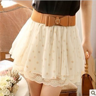 Fashion Nice Lace Wave Point Skirt (Without Belt)