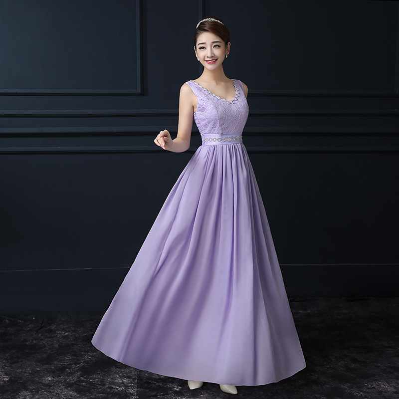 Purple Chiffon V Neck Sleeveless Long Bridesmaid Wedding Party Dress
