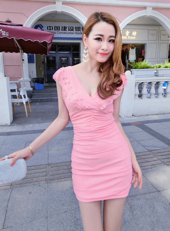 Nightclub sexy V neck ruffled collar sleeveless dress - Pink