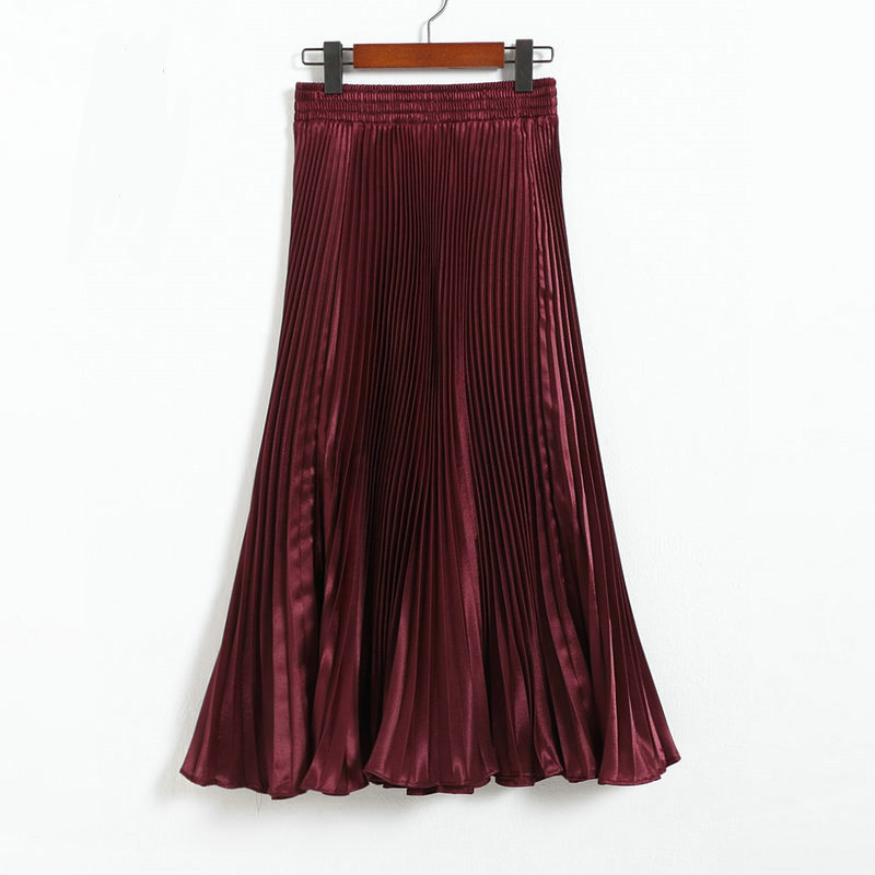 Autumn Satin Summer Casual Smooth Women Elastic Pleated Long Skirt - Wine Red