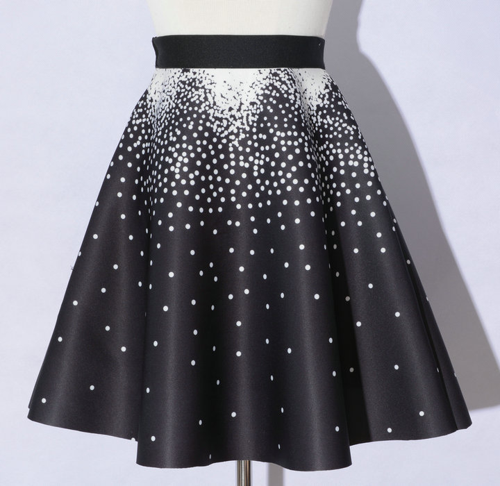 Elegant Printing Black Color Dot Pattern A-Line Skirts