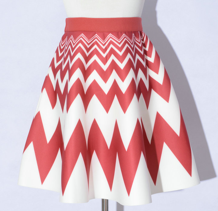 Elegant Printing Red Color Wave Pattern A-Line Skirts