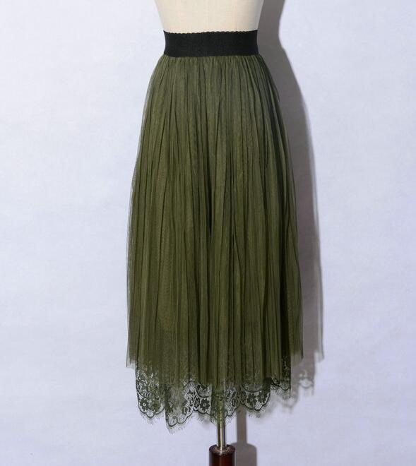 New Spring Elegant Lace Patchwork Pleated Skirt - Amy Green
