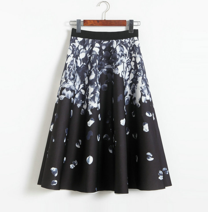 Retro space cotton printing high waisted A-line skirt - black