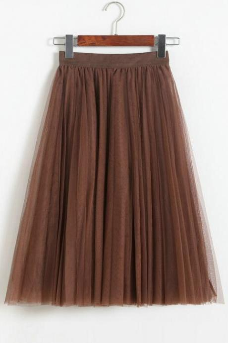 Pleated Midi Skirt Summer Ladies Casual Slim Beach Skirts - Khaki
