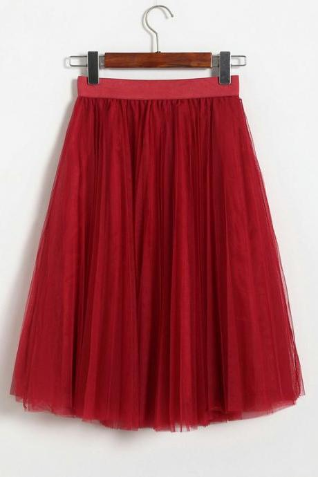 Pleated Midi Skirt Summer Ladies Casual Slim Beach Skirts - Wine Red