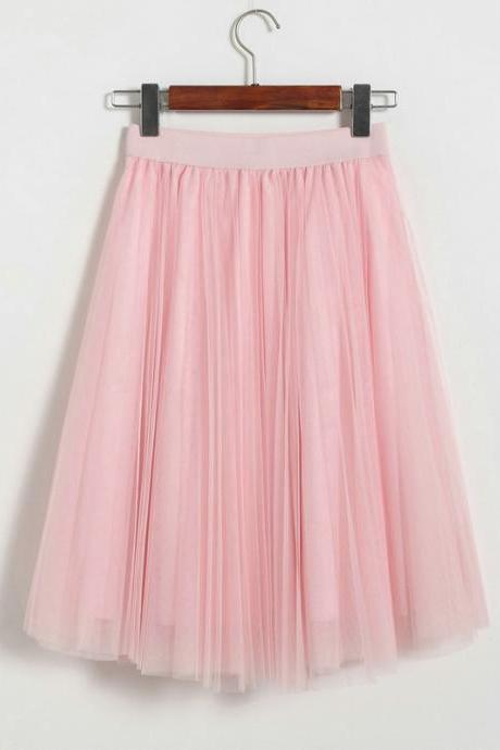 Pleated Midi Skirt Summer Ladies Casual Slim Beach Skirts - Pink
