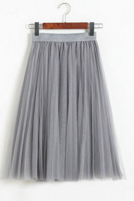 Pleated Midi Skirt Summer Ladies Casual Slim Beach Skirts - Grey