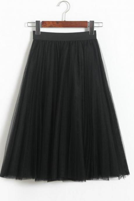 Pleated Midi Skirt Summer Ladies Casual Slim Beach Skirts - Black