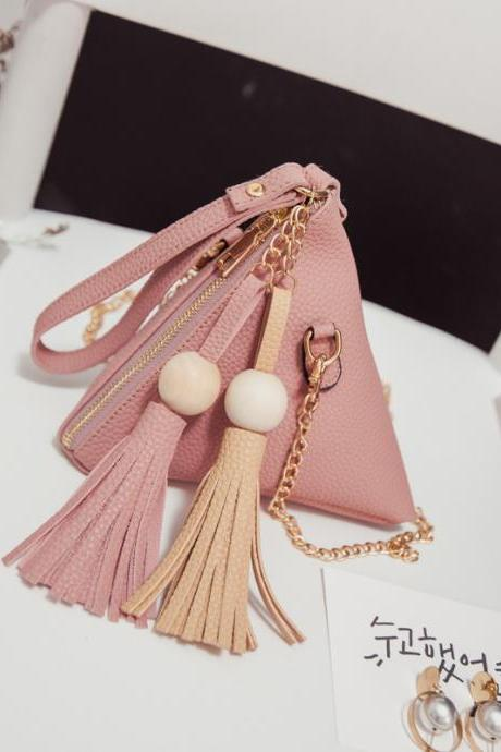 Small Purse Fringe Bag Ladies Wallet Triangle Women's Clutches Casual Leather Handbags