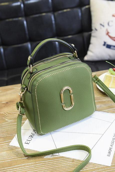 New Women Leather Handbags Small Square Bags Women Shoulder Messenger Bag - Green