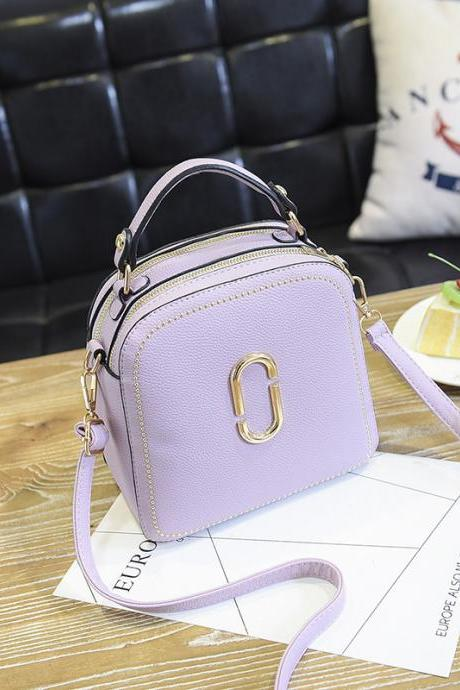 New Women Leather Handbags Small Square Bags Women Shoulder Messenger Bag - Purple