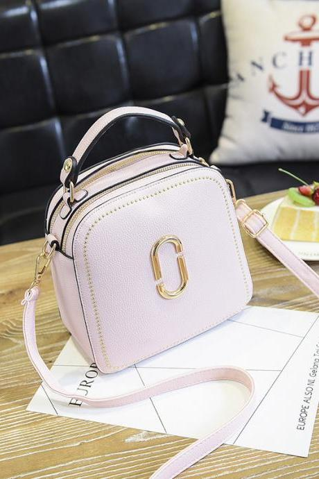 New Women Leather Handbags Small Square Bags Women Shoulder Messenger Bag -Pink