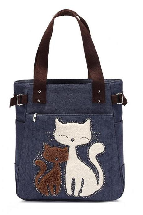 Fashion Women Handbag Cute Cat Tote Bag Lady Canvas Bag Shoulder Bag - Blue