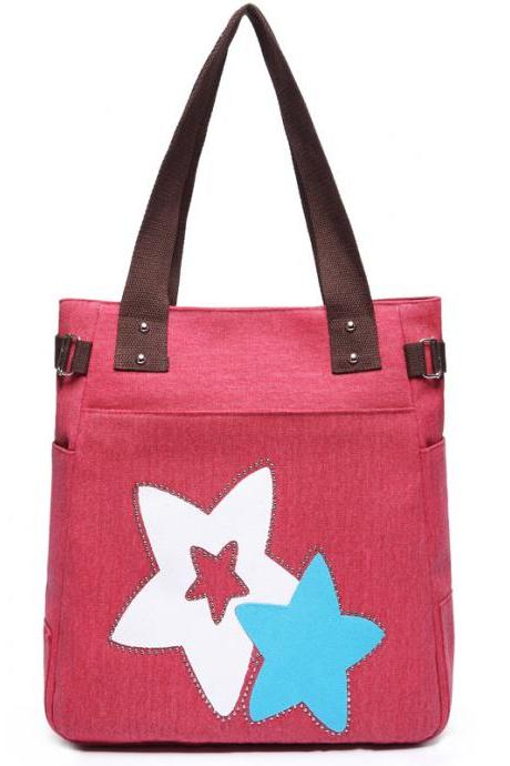 Fashion Women Star Pattern Canvas Shoulder Bag - Red