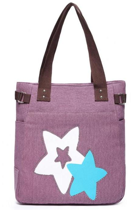 Fashion Women Star Pattern Canvas Shoulder Bag - Purple
