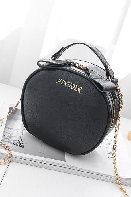 Cute Circular Women Mini Messenger Shoulder Bag Crossbody bag - Black