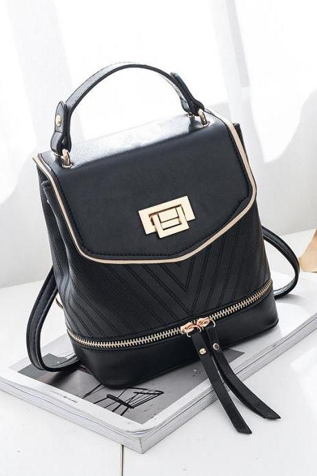 Women Leather Backpack Zipper Mini Multifunction Shoulder Bag - Black