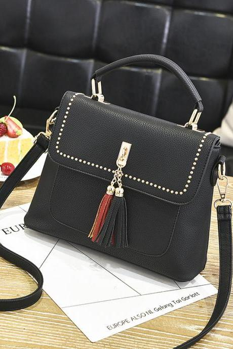 Tassel Women Messenger Bags Cross Body Shoulder Lady Bags Mini - Black