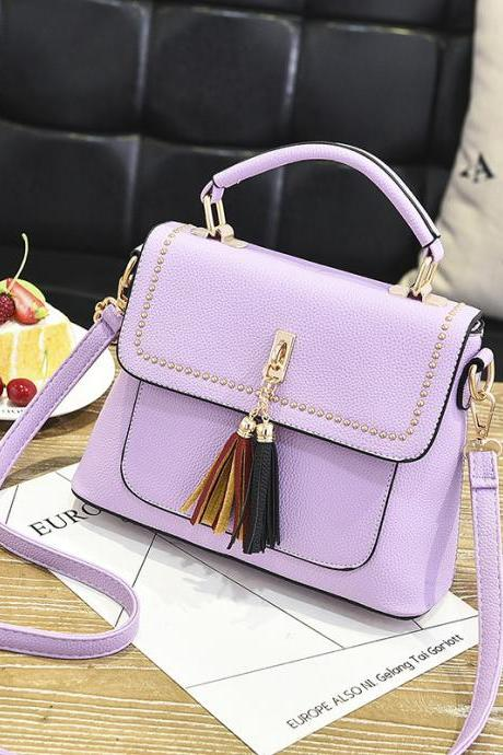 Tassel Women Messenger Bags Cross Body Shoulder Lady Bags Mini - Purple