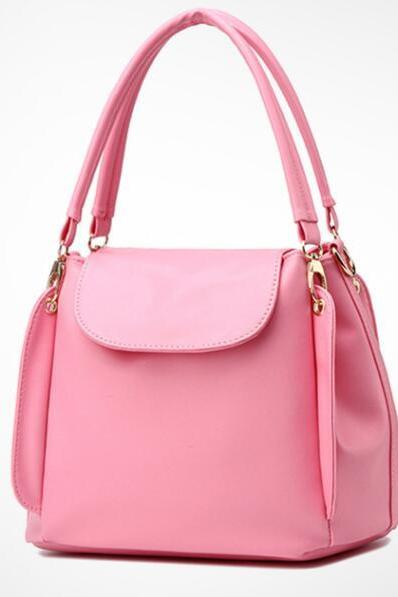 Women Fashion Three Layers Shoulder Bag Casual Crossbody Handbag - Pink