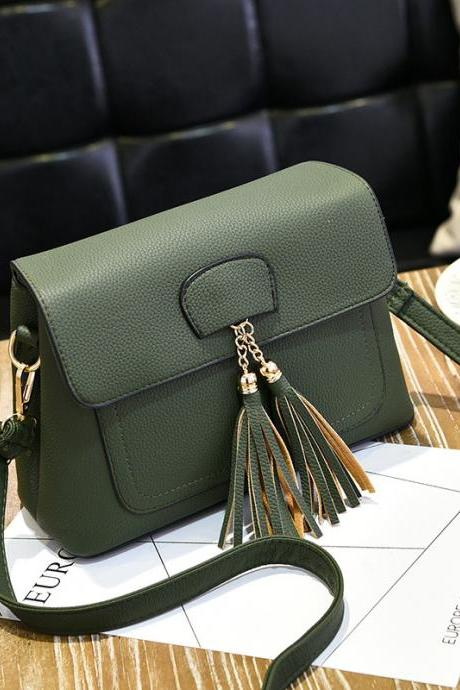 Women Tassel Mini Shoulder Bag - Green