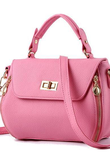 Small Women Messenger Bags Female Crossbody Shoulder Bag Mini Clutch Purse Bag Candy Color - Pink