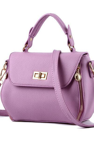 Small Women Messenger Bags Female Crossbody Shoulder Bag Mini Clutch Purse Bag Candy Color - Purple