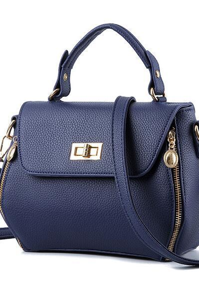 Small Women Messenger Bags Female Crossbody Shoulder Bag Mini Clutch Purse Bag Candy Color - Navy Blue