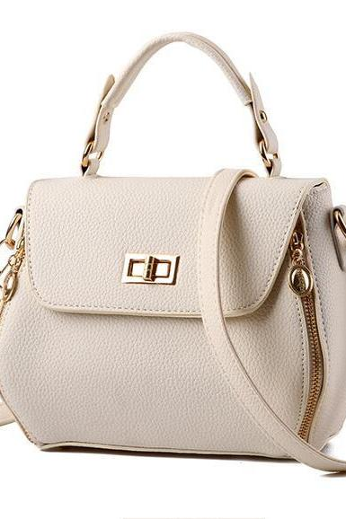 Small Women Messenger Bags Female Crossbody Shoulder Bag Mini Clutch Purse Bag Candy Color - Beige