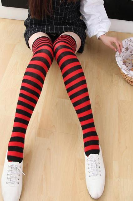 New Striped Thigh High Socks - Red & Black
