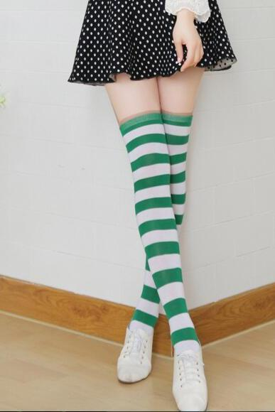 New Striped Thigh High Socks - Green & White