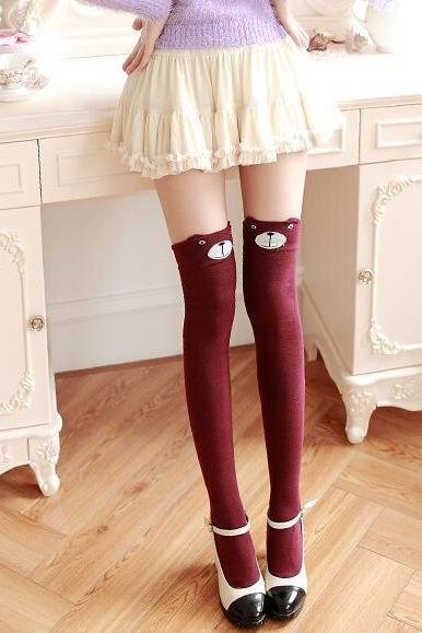 6a02a80c85f Women s Fashion Cute 3D Cartoon Animal Pattern Thigh Stockings Over Knee  High Knit Socks - Wine