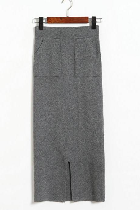 Autumn Winter High Waist Women Skirt Elastic Waist Straight Skrit Office Lady Knitted Skirt - Grey