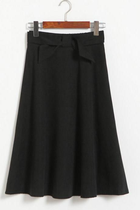 Womens High Waist Solid Elegant Bow Casual A Line Skirt - Black