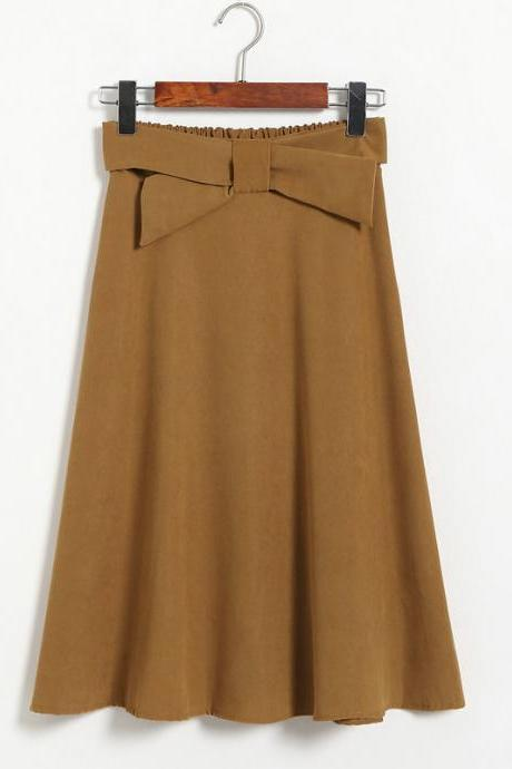 Womens High Waist Solid Elegant Bow Casual A Line Skirt - Khaki